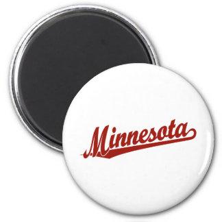 Minnesota script logo in red 6 cm round magnet