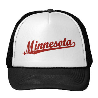 Minnesota script logo in red mesh hat