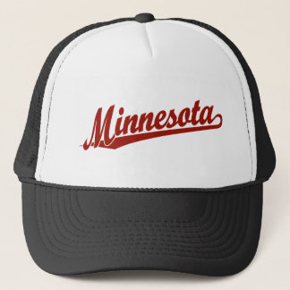 Minnesota script logo in red trucker hat