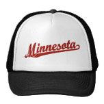 Minnesota script logo in red trucker hat