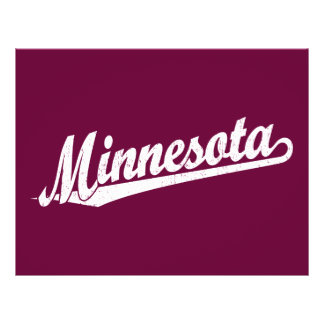 Minnesota script logo in white distressed personalized flyer