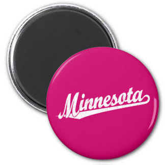 Minnesota script logo in white distressed 6 cm round magnet