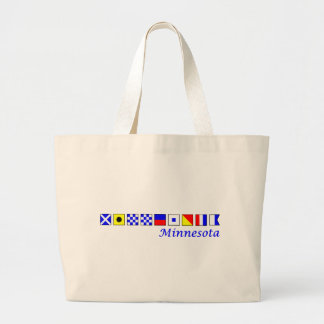 Minnesota spelled in nautical flag alphabet large tote bag