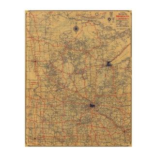 Minnesota standard map wood print