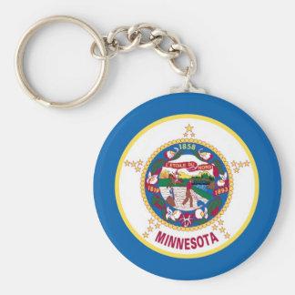 Minnesota State Flag Basic Round Button Key Ring