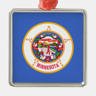 Minnesota State Flag Silver-Colored Square Decoration