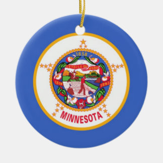 Minnesota State Flag Round Ceramic Decoration