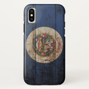 Minnesota State Flag on Old Wood Grain Case-Mate iPhone Case