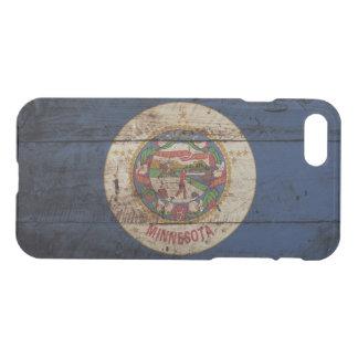 Minnesota State Flag on Old Wood Grain iPhone 7 Case