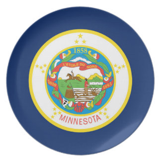 Minnesota state flag usa united america symbol dinner plate