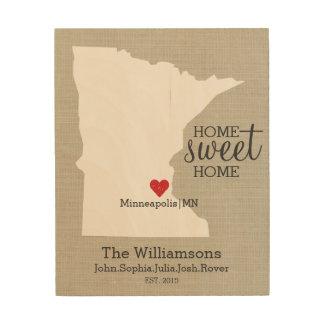 Minnesota State Love Custom Family Name Establish Wood Print