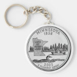 Minnesota State Quarter Basic Round Button Key Ring