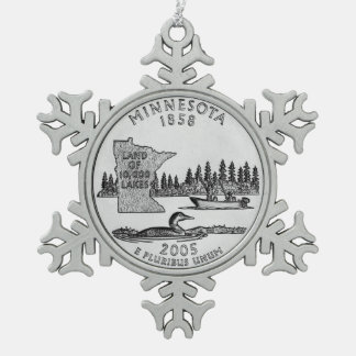 Minnesota State Quarter Snowflake Pewter Christmas Ornament