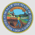 Minnesota State Seal Round Stickers