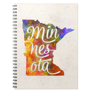Minnesota U.S. State in watercolor text cut out Notebooks