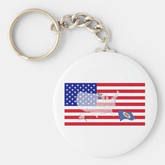 Minnesota, USA Basic Round Button Key Ring