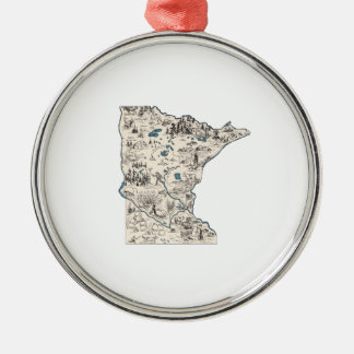 Minnesota Vintage Picture Map Christmas Ornament