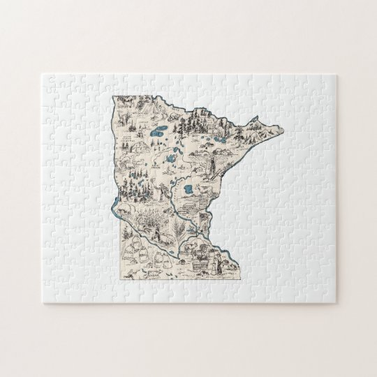 Minnesota Vintage Picture Map Jigsaw Puzzle