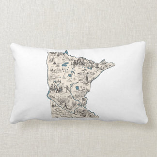 Minnesota Vintage Picture Map Lumbar Cushion