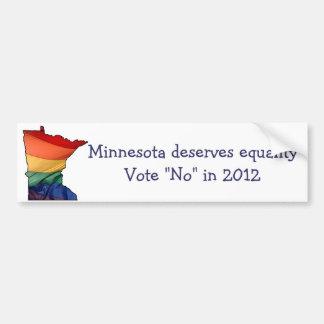 Minnesota vote no to support gay marriage bumper sticker