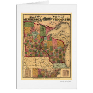 Minnesota & Wisconsin Railroad Map 1871 Card