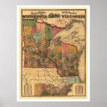 Minnesota & Wisconsin Railroad Map 1871 Poster