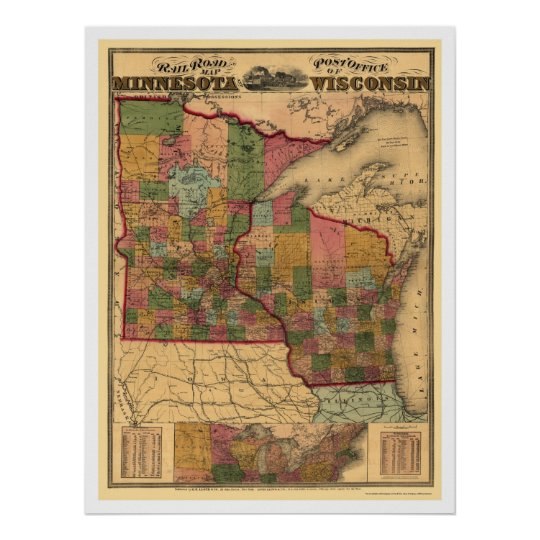 Minnesota & Wisconsin Railroad Map 1871 Poster