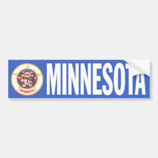 Minnesota with State Flag Bumper Sticker