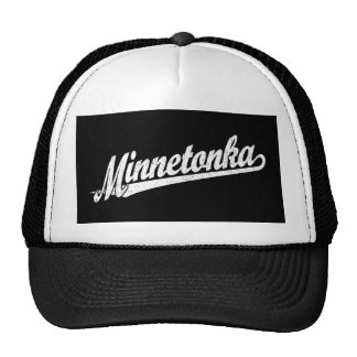 Minnetonka script logo in white distressed cap