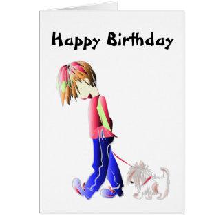 Minnie-me! Boy walking dog digital art Card