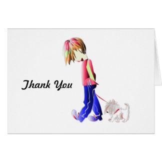 Minnie-me! Boy walking Westie Dog Art Note Card