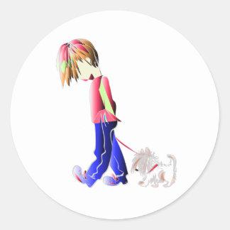 Minnie-me! Boy walking Westie Dog Art Round Sticker