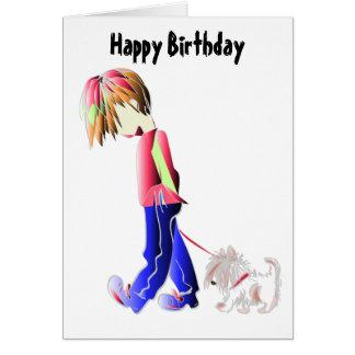 Minnie-me cute boy walking dog digital art card