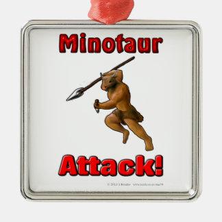 Minotaur Attack (with slogan) Silver-Colored Square Decoration