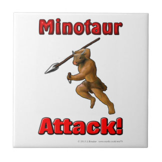 Minotaur Attack (with slogan) Tile