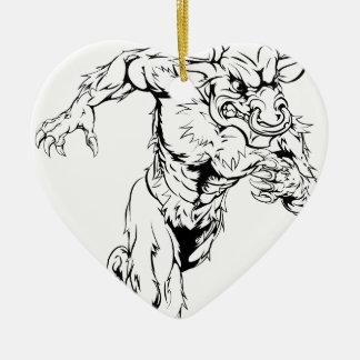 Minotaur bull sports mascot running ornament