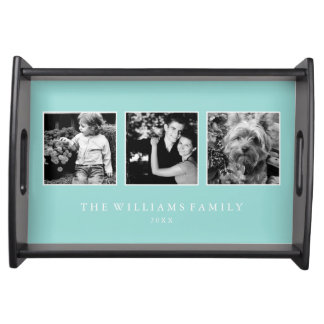 Mint 3-Photo Family Collage Personalized Serving Platter