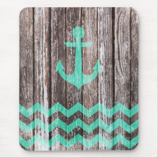 Mint Anchor on old wood Mouse Mat
