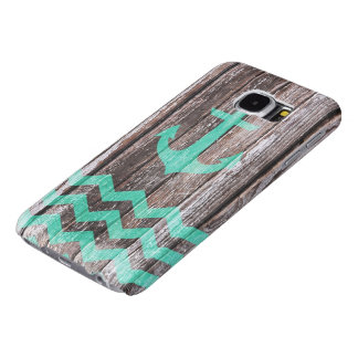 Mint Anchor on old wood Samsung Galaxy S6 Cases