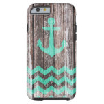 Mint Anchor on old wood Tough iPhone 6 Case
