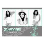 Mint Anchor Photo Graduation Flat Card Personalized Announcement