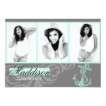 Mint Anchor Photo Graduation Flat Card Personalized Announcement