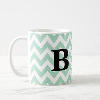 Mint and Black Chevron Monogram Mug