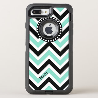 Mint and Black Chevron OtterBox Defender iPhone 7 Plus Case