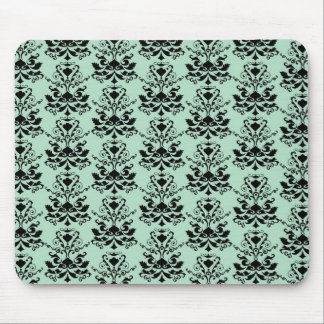 Mint and Black Elegant Damask Print Mouse Pads