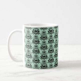Mint and Black Elegant Damask Print Mugs