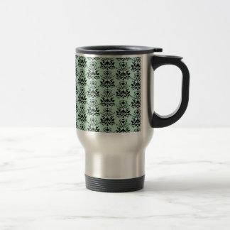 Mint and Black Elegant Damask Print Coffee Mug