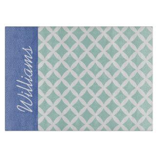 Mint and Blue Diamonds Custom Monogram Cutting Board