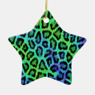 Mint And Blue Leopard Print Christmas Ornament