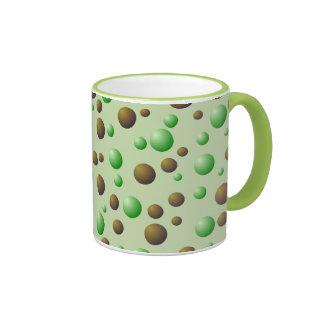 Mint and Chocolate Bubbles Pattern Mugs